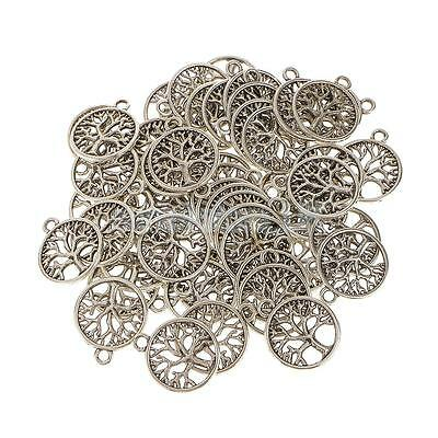 "50 Antique Silver ""Tree of Life Circle"" Charms Pendants For Jewelry Findings"