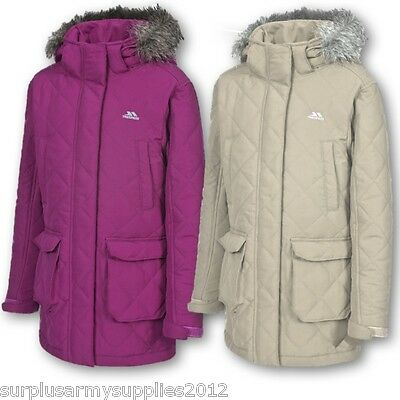 Girls Reep Trespass Puffa Jacket Pink Quilted Insulated Long Length School Coat