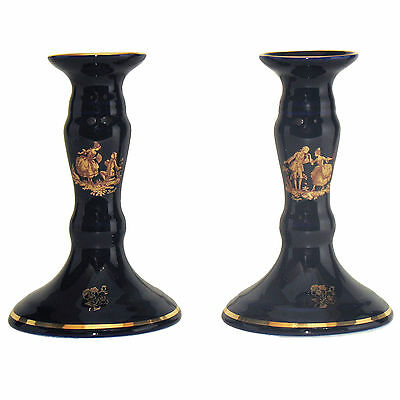 """Limoges porcelain cobalt blue fine china pair of Candle Holders """"love story"""""""