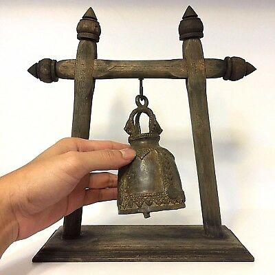 Antique Rare The Bell Buddha Amulet Clapper Sound Temple Hanging Old Famous