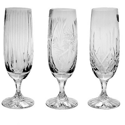 Cut Crystal Flute Champagne Glass Set of 6 Glasses Pinwheel Watford or Regency