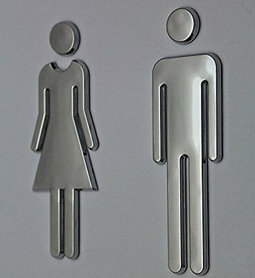 Modern Bathroom Sign Adhesive Backed MenWomen Toilet Unisex Restroom Wall Decal