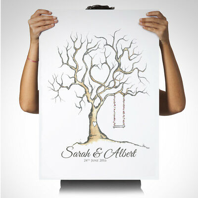 Personalised Wedding Fingerprint Tree Guest Book Frame Large A1 A2 A3 A4 CANVAS