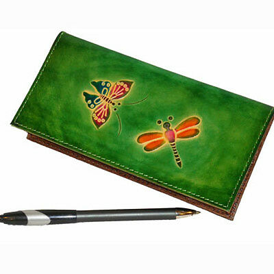 Real Leather Check Book Cover,Butterfly/Dragonfly Embossed on Both Side, Green