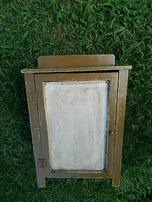 Small Antique Wood Country Folk Art Cupboard Medicine Cabinet Old Vtg
