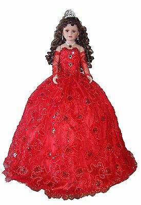 "28"" Quinceanera Sweet 15 Spanish Porcelain Umbrella Dolls RED Dress (EQDoll28*)"