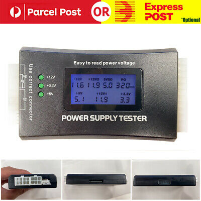 Lcd Computer Pc Power Supply Tester 20/24 4/6/8 Pin For Sata Ide Hdd Atx Itx Btx