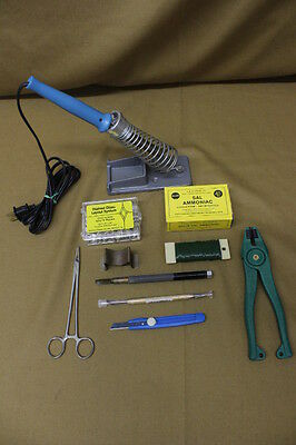 Vintage ESICO Soldering Iron 4100 100w 120v w/ Stand & Stained Glass Accessories