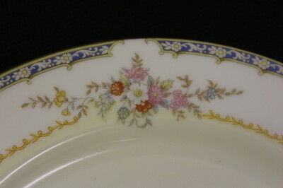 77 Pc Noritake Floral Fine China w/Blue Border, Gold Trim, Service for 11, Japan
