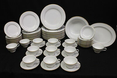 68 Pc Noritake Fine China GUENEVERE White Scroll #6517, Service for 11, Japan