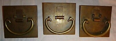 3 Antique Square Chinese Brass Oval Handle Slide & 1 w/ YALE Key Lock Cabinet