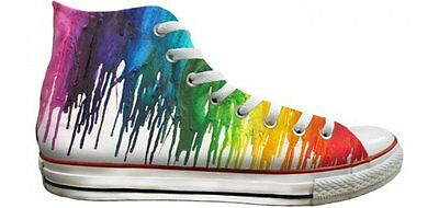 606f770124c4 Converse All Star High Top Chuck Taylor Rainbow LGBTQ Pride Crayon Sneakers  Shoe