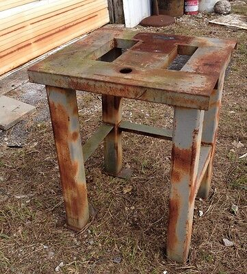 Vintage Heavy Industrial Machine Age Steampunk Pedestal Table Island Bar  Base
