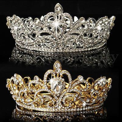 Crystal Rhinestone King Crown Tiara Wedding Pageant Bridal Diamante Headpiece US