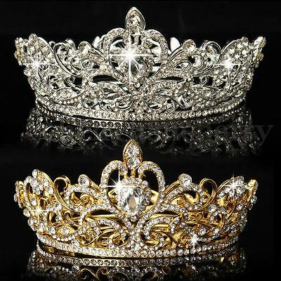 King Queen Crystal Rhinestone Crown Tiara Wedding Pageant Bridal Diamante HeadUS