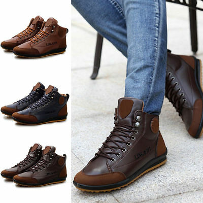 New Men Winter Warm Leather Waterproof Light Boots High top Lace Up Casual Shoes