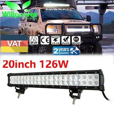 20 inch 126W LED WORK LIGHT BAR FLOOD&SPOT COMBO OFFROAD UTE SUV Driving LAMP