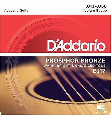 DAddario EJ17 Acoustic Guitar Strings Phosphor Bronze Medium Gauge 13-56