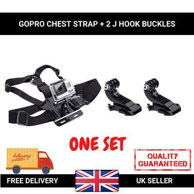 Chest Strap Harness Mount Adjustable GoPro HD Hero 1 2 3 3+ 4 Camera & 2x J Hook