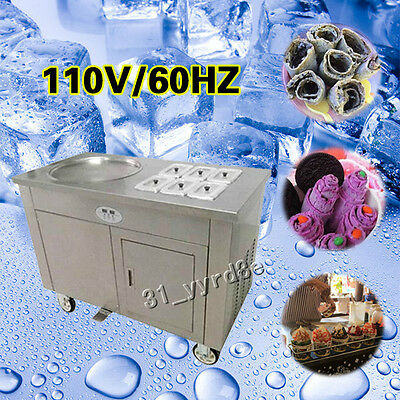 Thailand single pan fried ice cream rolled making machine Double compressor 110V