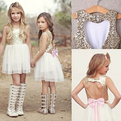 Sequins Baby Girls Dress Party Gown Bridesmaid Dresses Tulle Tutu Bow Backless
