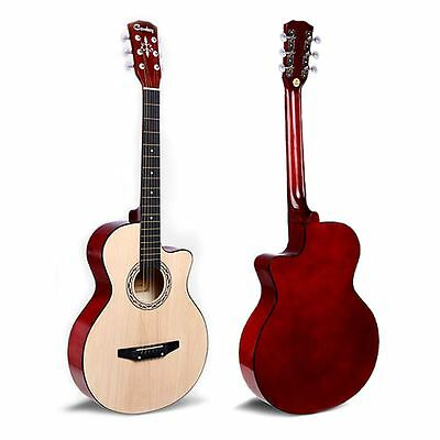 "38"" Walnut Acoustic 6 String Guitar For Beginners School Student Adults Xmas NEW"