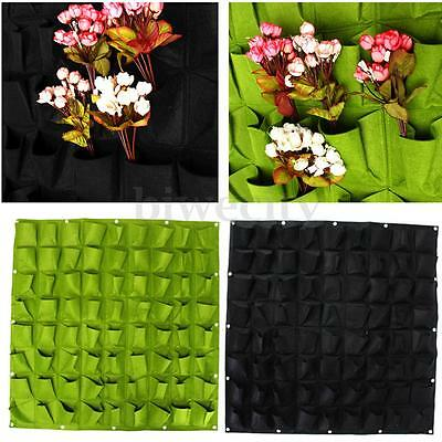 72 Pockets Hanging Glowing Wall Garden Plant Bags Seedling Planter Green/Black