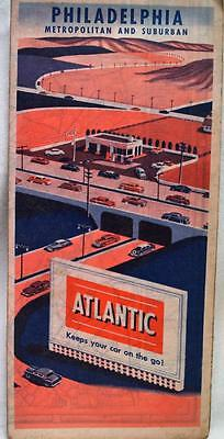 ATLANTIC REFINING PHILADELPHIA PENNSYLVANIA CITY STREET ROAD MAP 1950s VINTAGE