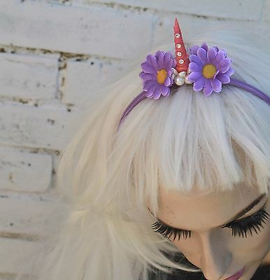 Mini Purple Unicorn Horn Flower Crown Headband Festival Pastel Goth Bridesmaids