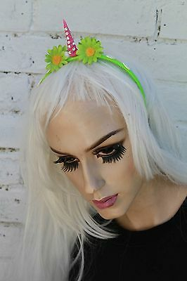 Mini Green Unicorn Horn Flower Crown Headband Festival Pastel Goth Bridesmaids