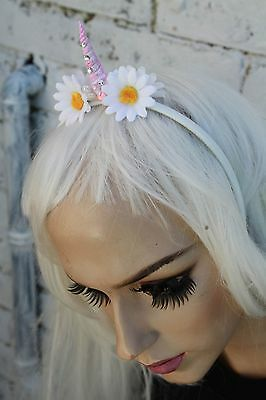 Unicorn Horn Flower Crown Headband Festival Indie Grunge Bridesmaids Girls