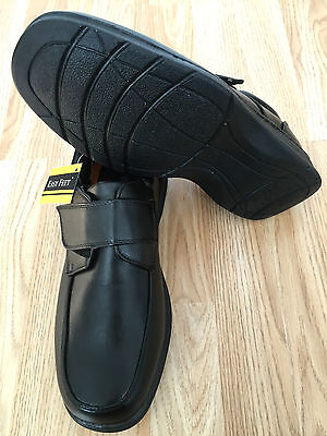 Men Black Padded Orthopaedic Diabetic Wide Moccasin Touch Fastening Shoes Size