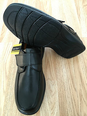 Mens Black Padded Orthopaedic Diabetic Wide Moccasin Touch Fastening Light Shoes