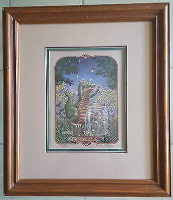 """Randal Spangler """"Fetching Fireflys"""" Vintage Print-Signed-Numbered With COA-1990"""
