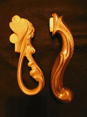 Pair Of Handles Louis Xv Style - For Window - Bronze - French Antique