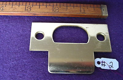 Old Antique Vintage Solid Brass Mortise Lock & Door Latch Plate Keeper Part # 2