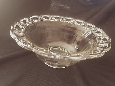 "Imperial Glass Lace Edge Crocheted Crystal 10"" Salad Bowl"