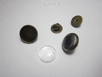 2 Bronze Round Cabochon Setting Brooches fit 18mm tie clutch pin back with glass
