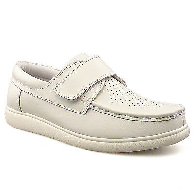 Mens Womens New Wide Fitting White Touch Fastening Bowling Shoes