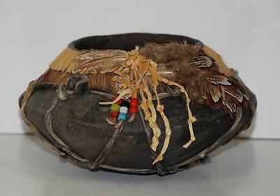 NAVAJO Pottery BOWL PLANTER POT Native American Feathers Beads Leather Hair