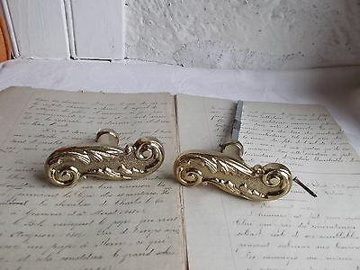 French vintage brass door handle solid classic style Louis  XV stamped