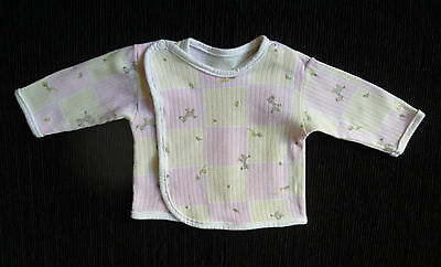 Baby clothes GIRL newborn 0-1m wrapover pink/yellow check long sleeve cotton top