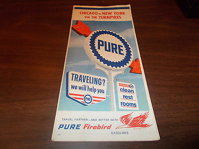 1961 Pure Oil Chicago to New York Via Turnpikes Vintage Road Map