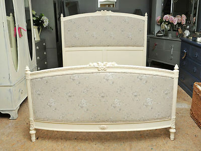 Vintage French Reupholstered Double Bed with base.
