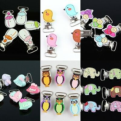 10X Wood Animal Heart Style Suspender Clips Pacifier Clips Plastic Insert New