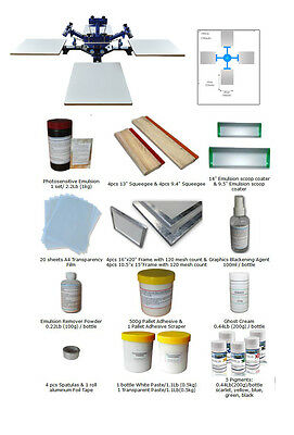 Silk Screen Printing 4 Color Press Kit : Screen Printing Equipment + Materials