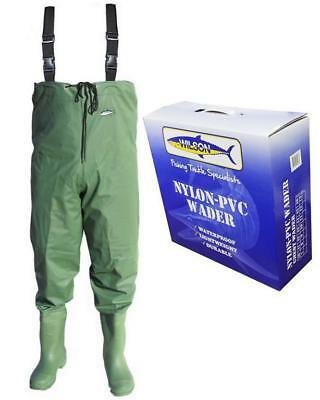 Wilson Fishing Chest Waders Size 9 Nylon Pvc-Waterproof-Lightweight-Durable-New