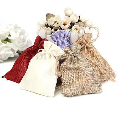 1-10X Natural Jute Sack  Burlap Bags Drawstring Jewelry Pouch Gift Wedding Gift
