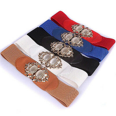 Women's Retro Waist Wide Belt Ladies Leather Elastic Crystal Buckle Wrap Cinch