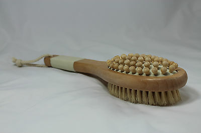 Cellulite Massager & Natural Bristle dry/wet body brush with wooden handle